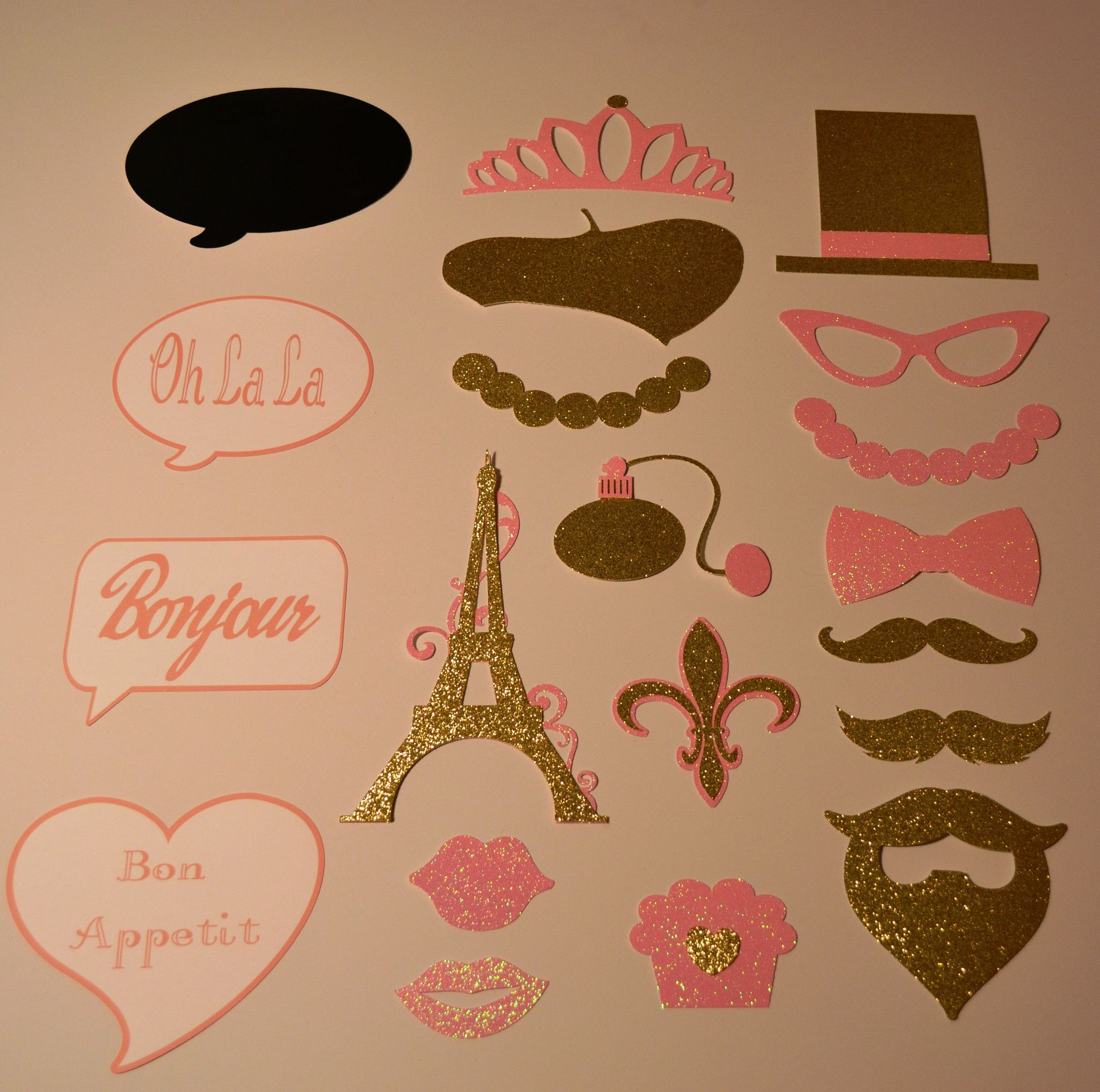 20 Paris Theme Booth Props Pink and Gold Great for Mustache