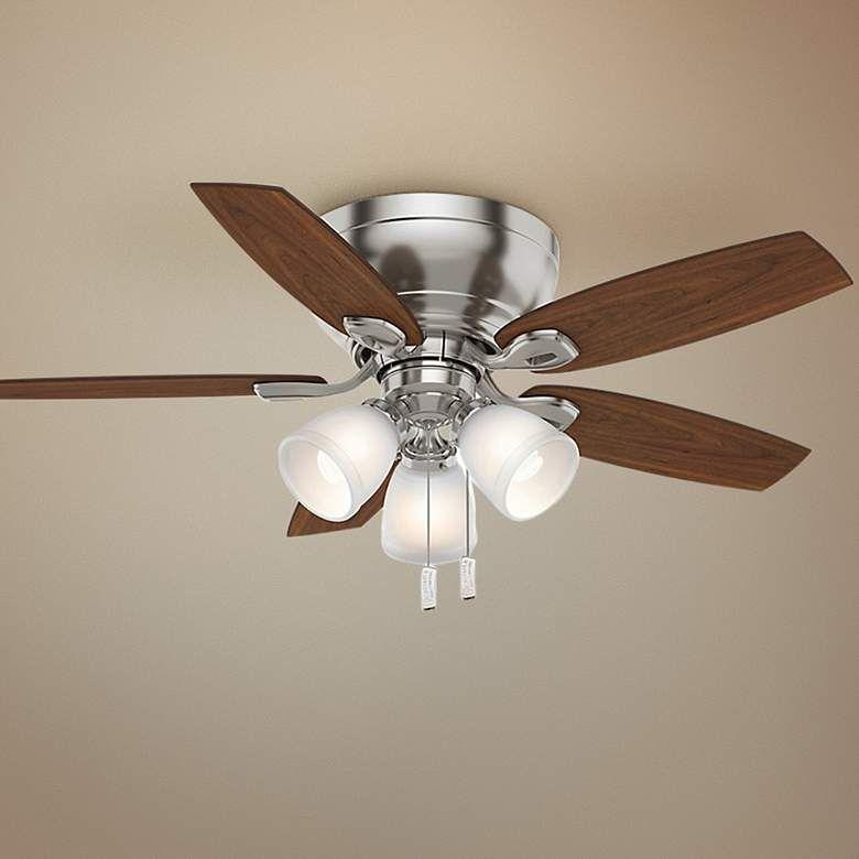 44 Casablanca Durant Brushed Nickel Led Hugger Ceiling Fan 7y707 Lamps Plus Hugger Ceiling Fan Ceiling Fan Size Ceiling Fan