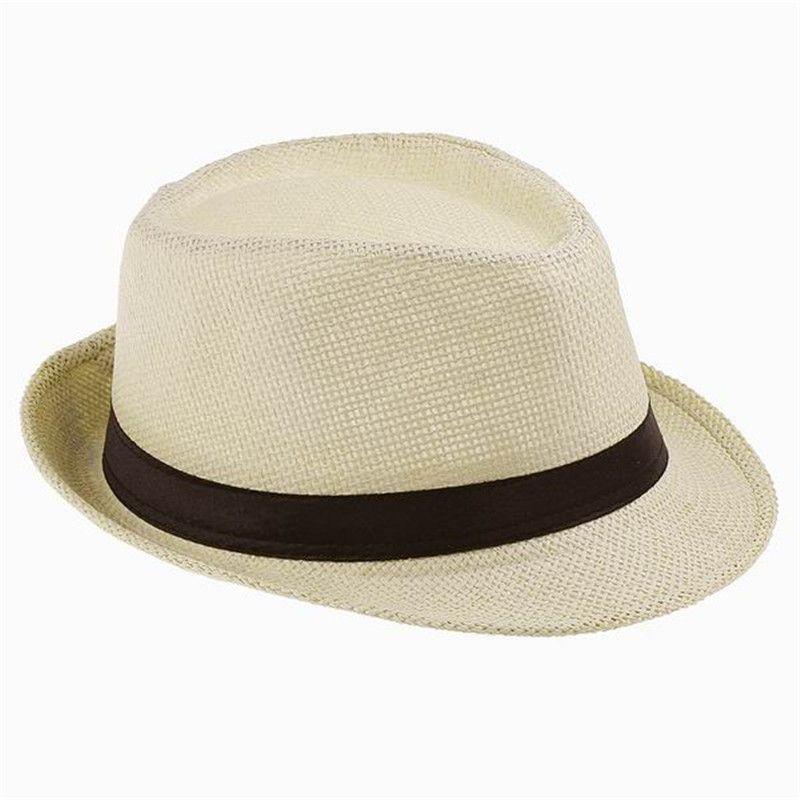 Straw Hat Trilby Fedora Multi-coloured Band Summer Sun