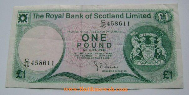 1981 Royal Bank Of Scotland Limited 1 Pound Sterling Royal Bank Bank Notes Pound Sterling