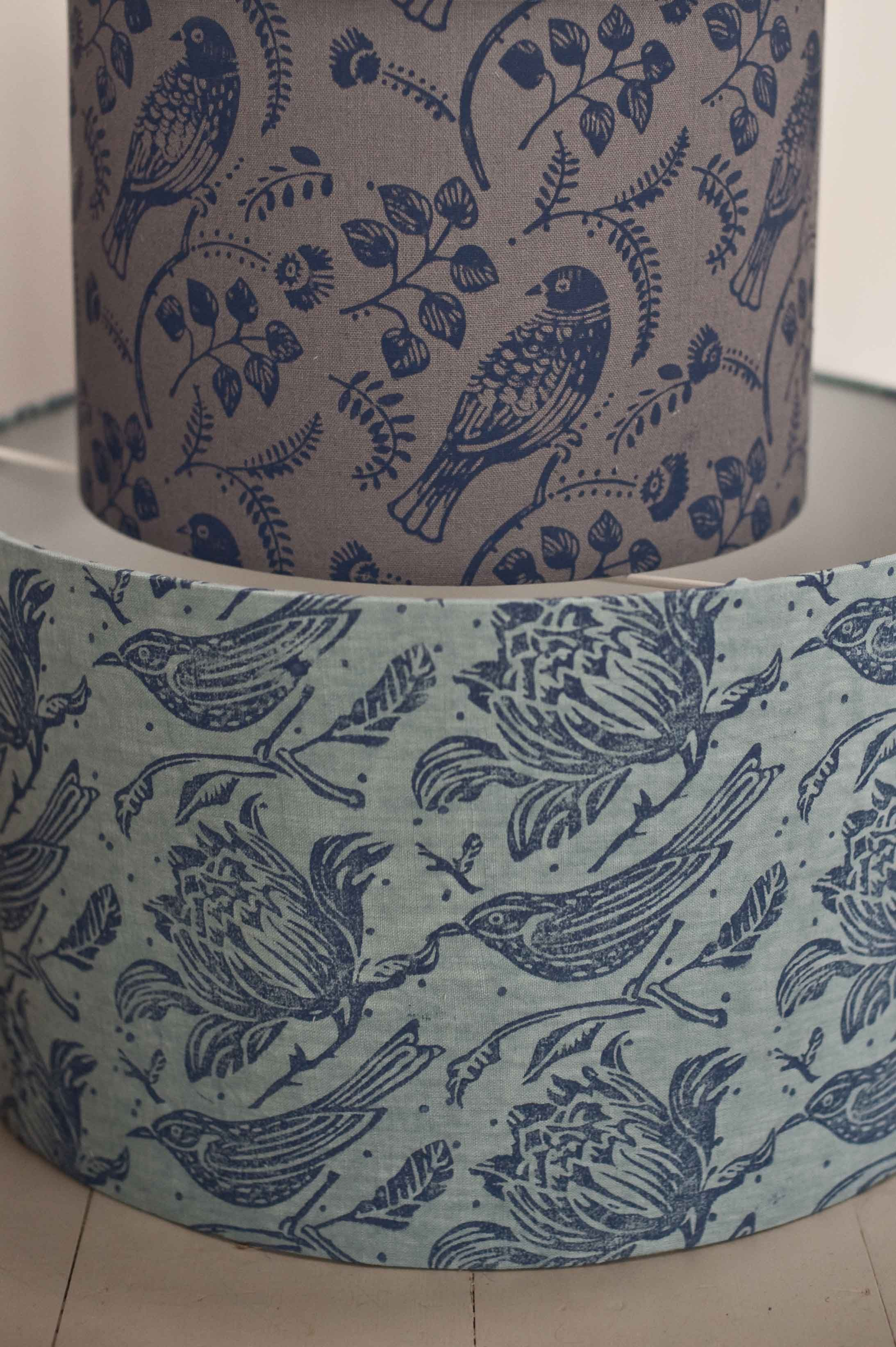tuvi tussock lampshades printed with a patterned paint