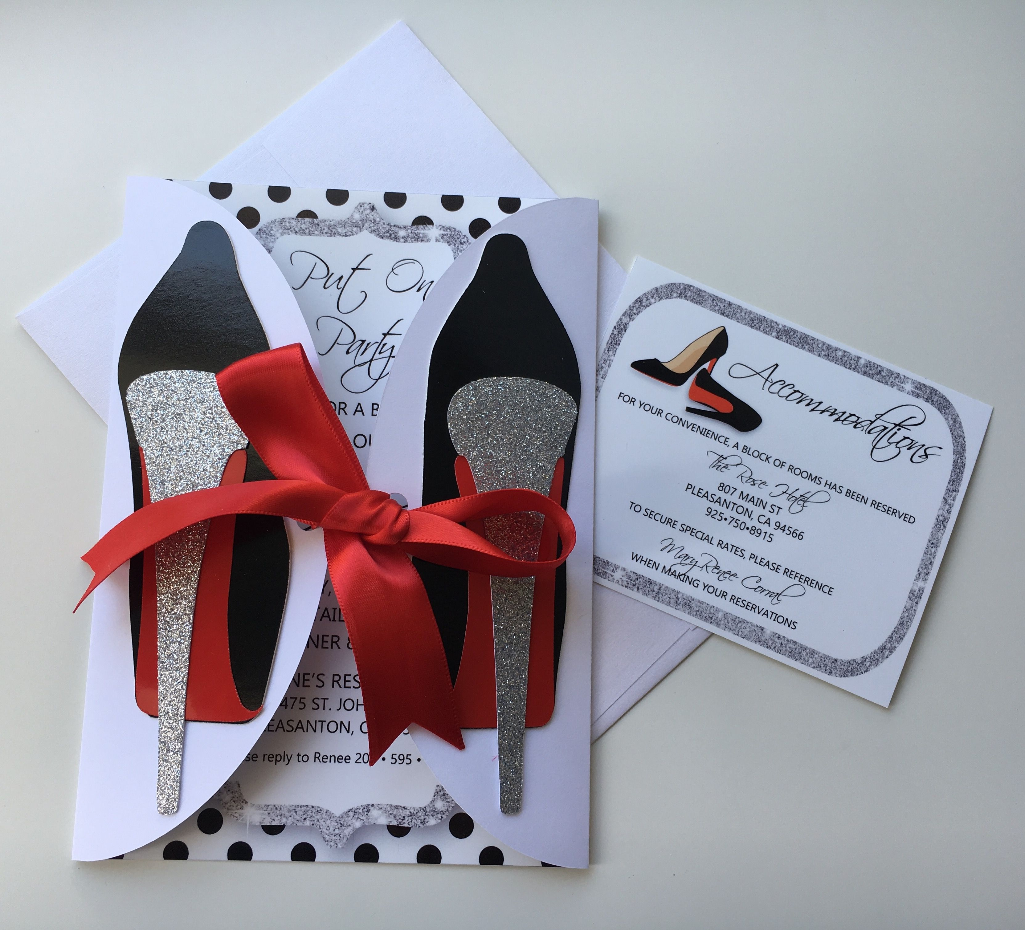 High Heels Invitations With Enclosure Cards