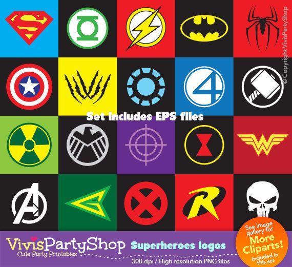 Superheroes Logos Clipart Printable Instant Download Eps Files Png Files Superman Batman Thor Flash Captain America H Logo Clipart Superhero Clip Art