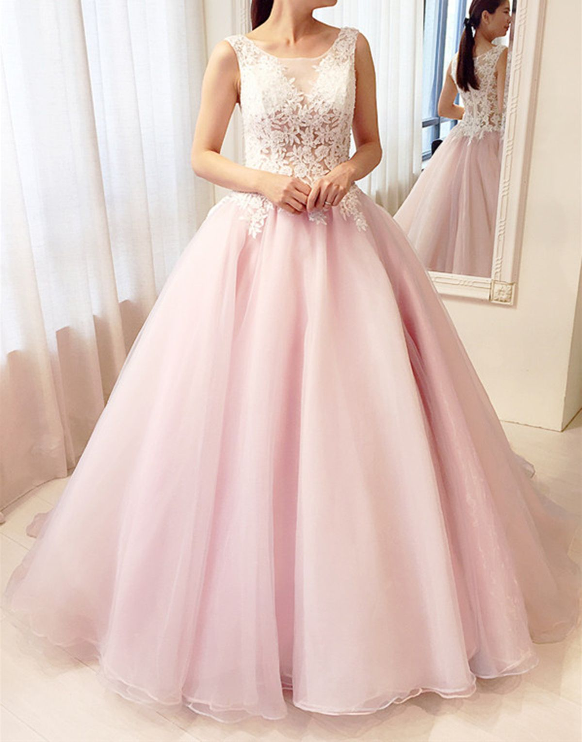 Beautiful pink lace tulle long poofy prom dress for teens #promdress ...