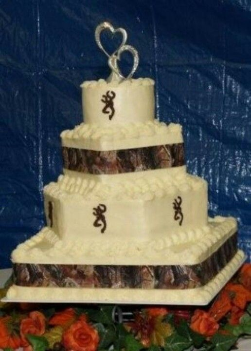 Light Pink icing, brown browning signs and then camo ribbon on the ...
