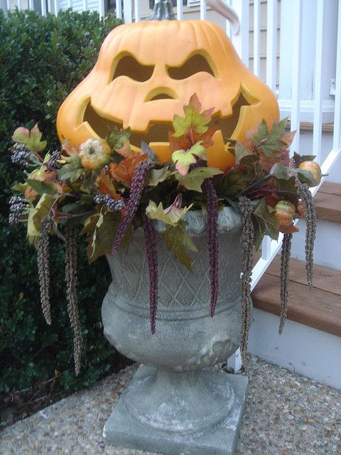 Halloween Urn Decorations Stunning Elegant Pumpkin  Urn Decorating And Holidays Design Ideas