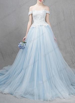 Ocean light blue colored princess ball gown wedding dress | Dress to ...