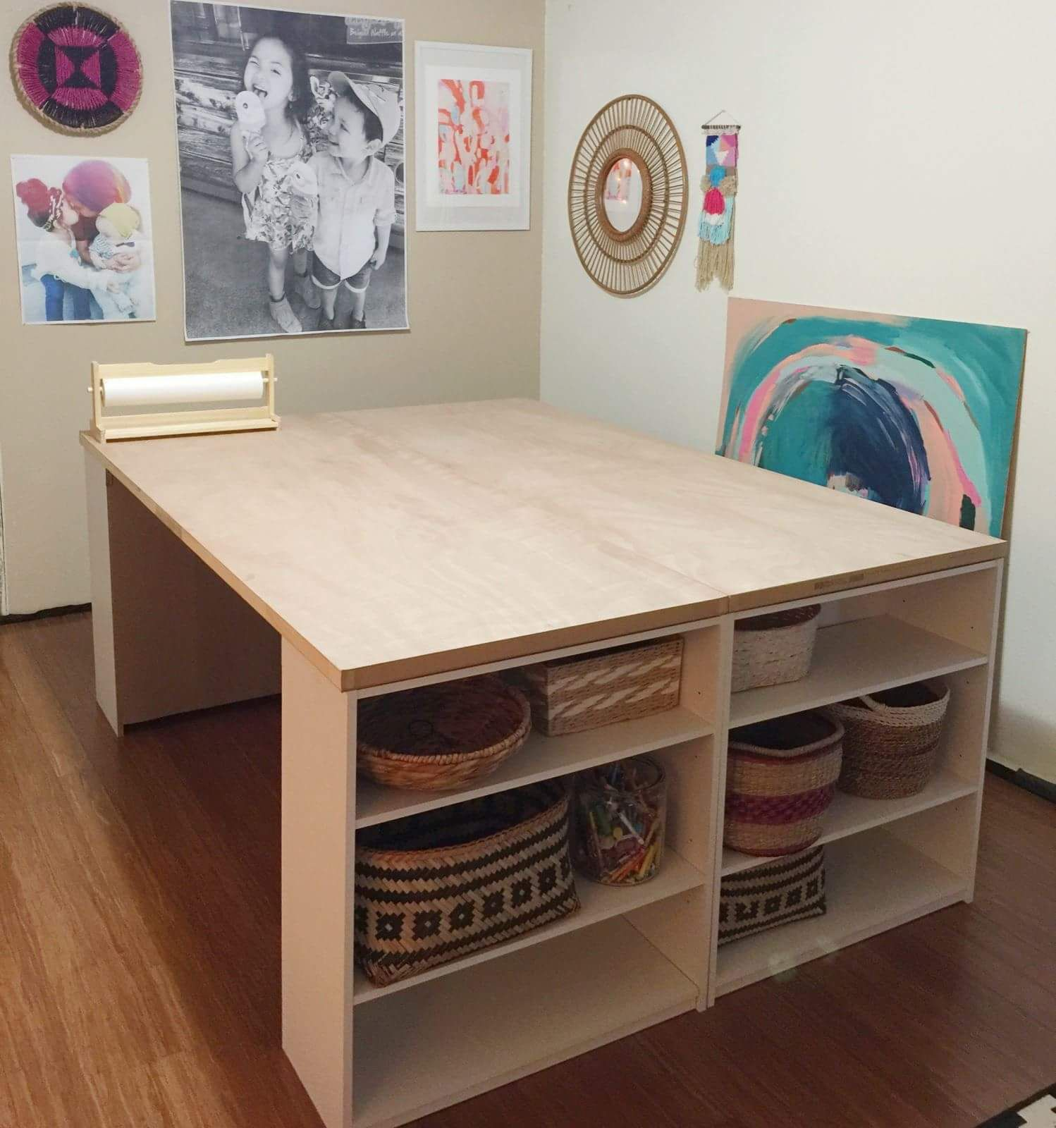 DIY work table / 4 15 shelves, 2 30 doors. (With images