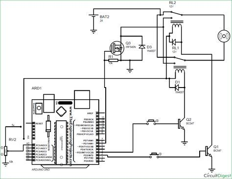 Arduino based DC Motor Speed and Direction Control circuit diagram