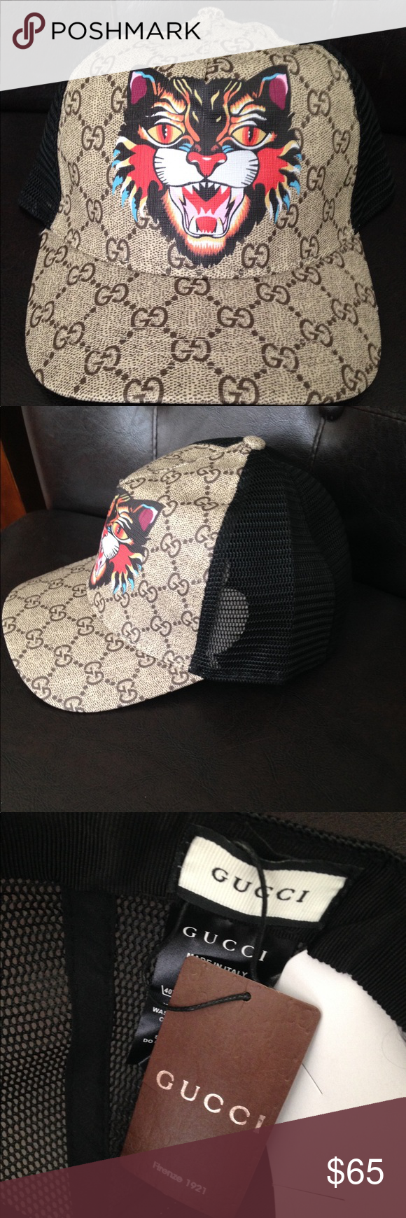 Gucci Hat New hat! Tan GG print with angry cat logo on front! Adjustable 5e6e93ce8f1a