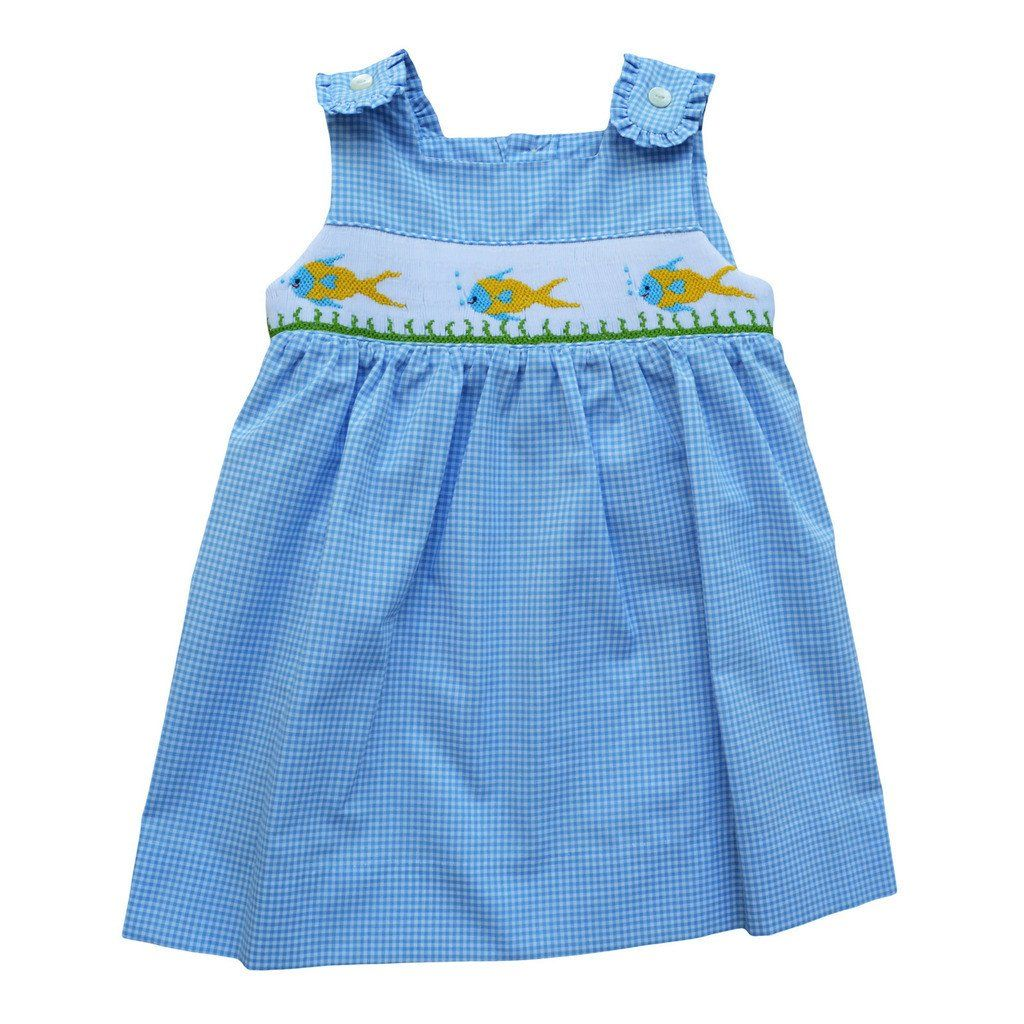 Hand Smocked Colorful Fish Carriage Boutique Baby Girl White Sleeveless Dress