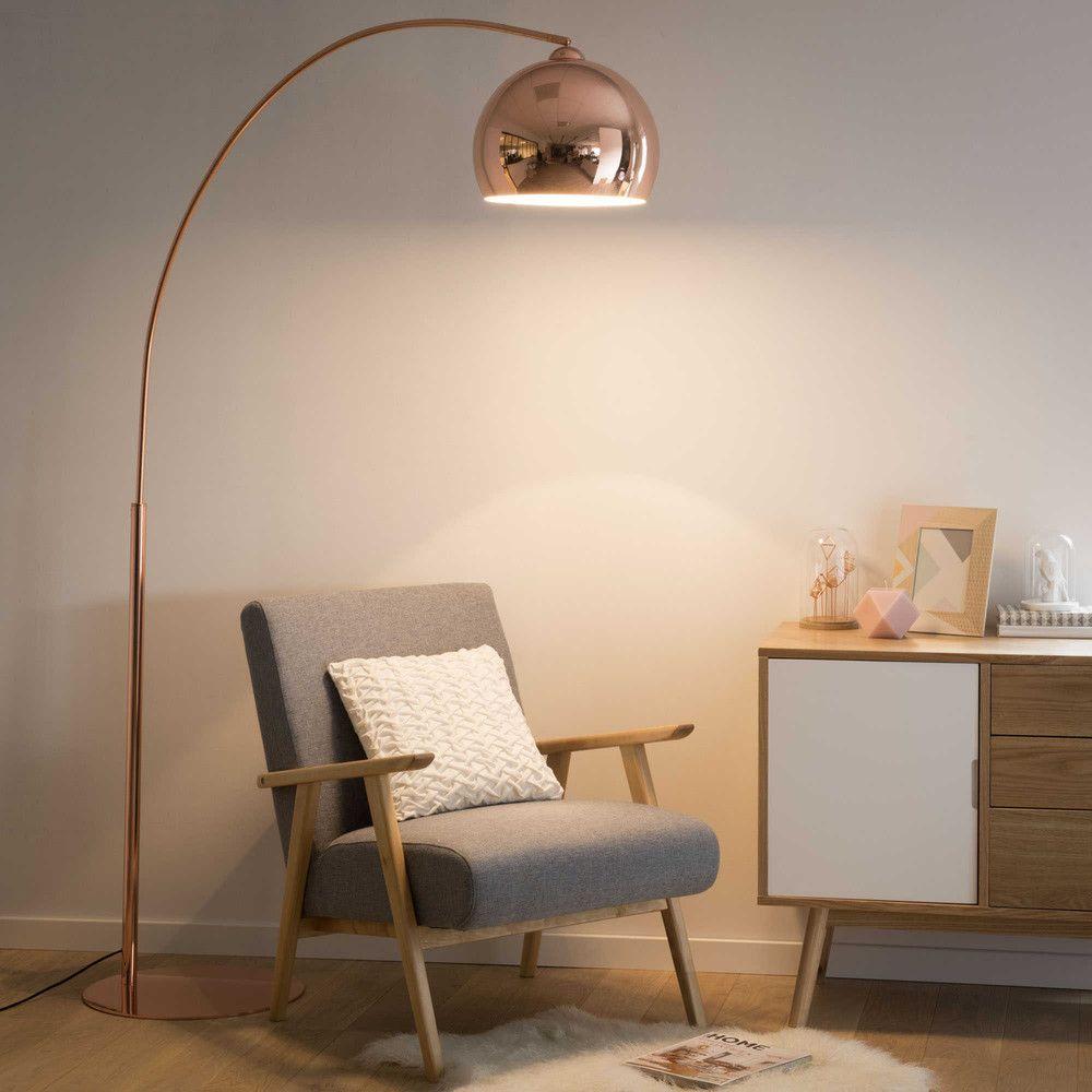 Stehlampe Aus Kupferfarbenem Metall Und Plexiglas®, H 195