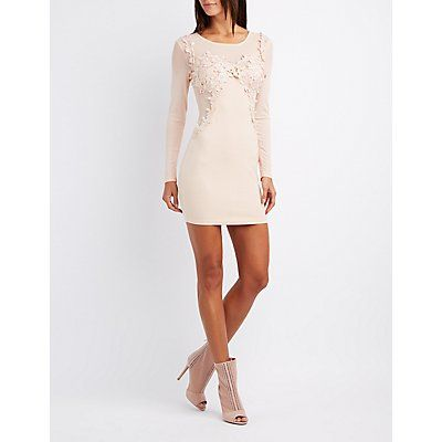 Pink Mesh & Crochet-Trim Bodycon Dress - Size XL