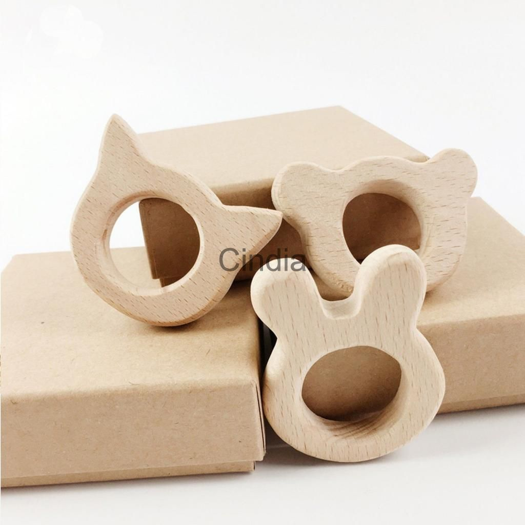 Toys Shower Teething Animal Shape Baby Teether Nature Wooden Nursing Holder