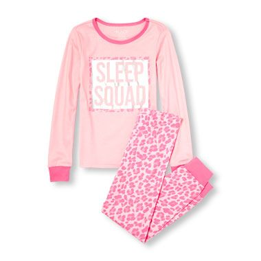Girls Long Sleeve Sleep Squad Top And Leopard Print Pants Pj Set
