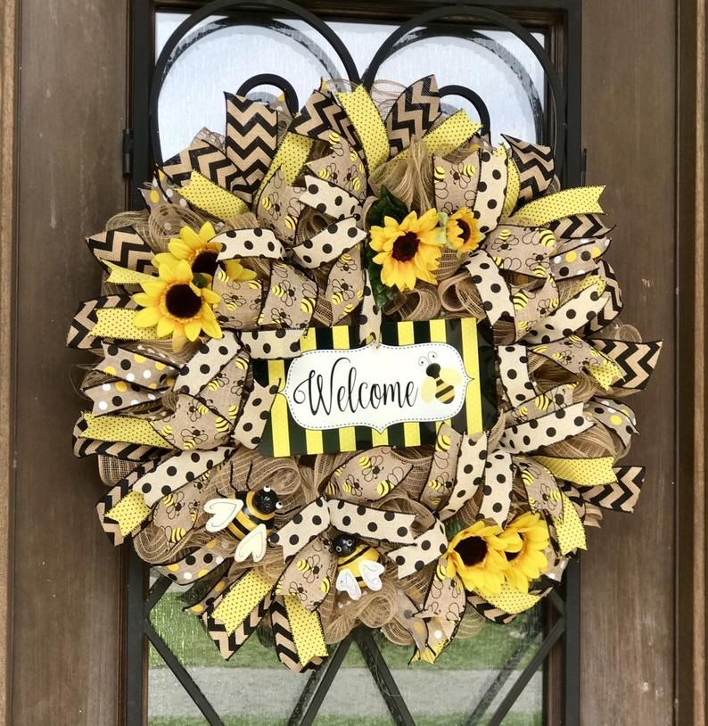 Photo of XL sunflower wreath, burlap sunflower wreath, Welcome bee wreath for front door