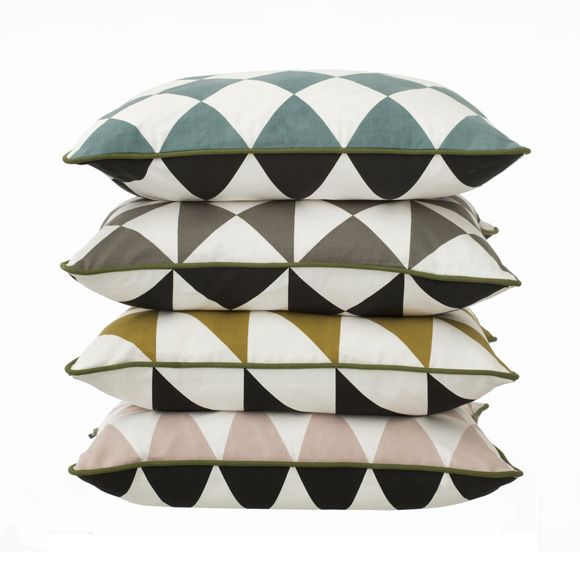 Ferm LIVING Large Geometry Kissen 50x50 Cm Grau