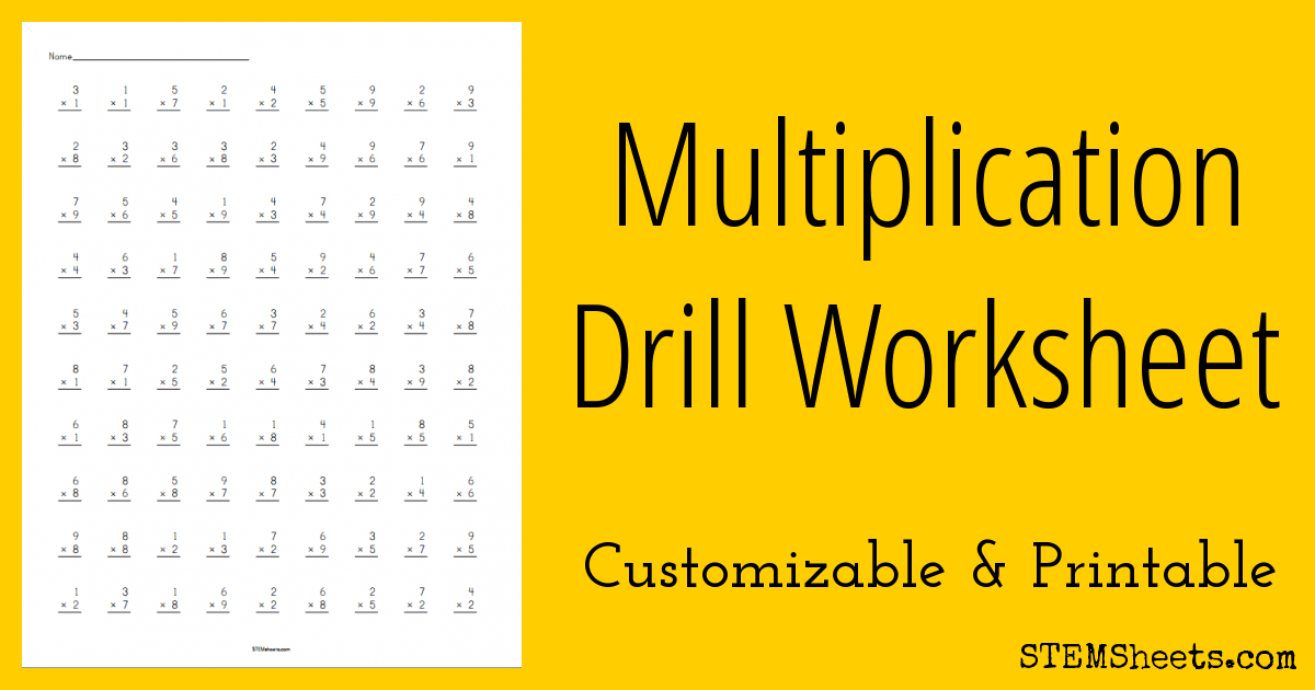 Customizable and printable multiplication drill worksheets with up ...