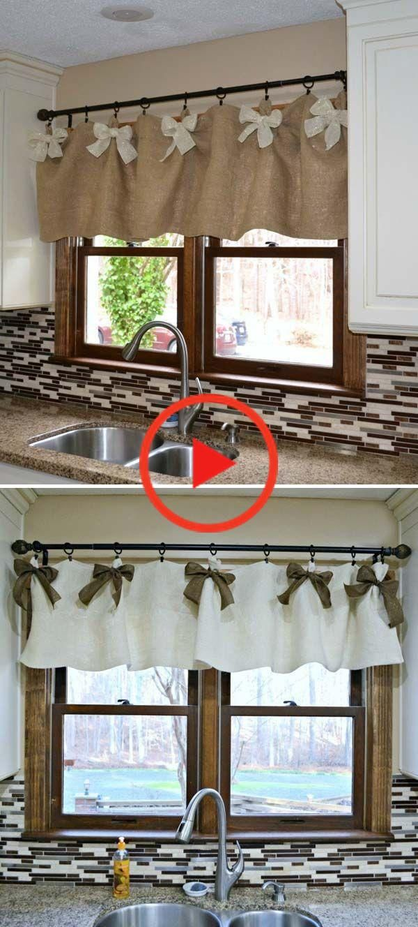 20 Very Cheap And Easy Diy Window Valance Ideas You Would Love In 2020 Diy Curtains Burlap Valance Burlap Curtains Kitchen - Vorhangband Smoke