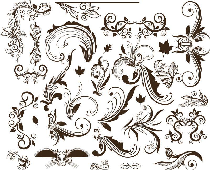 Ornate Floral Swirls Vector Manualidades Imprimibles Abecedario