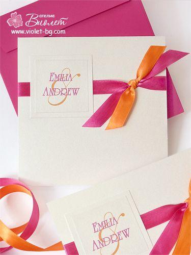 Fuschia & orange wedding invitations from let