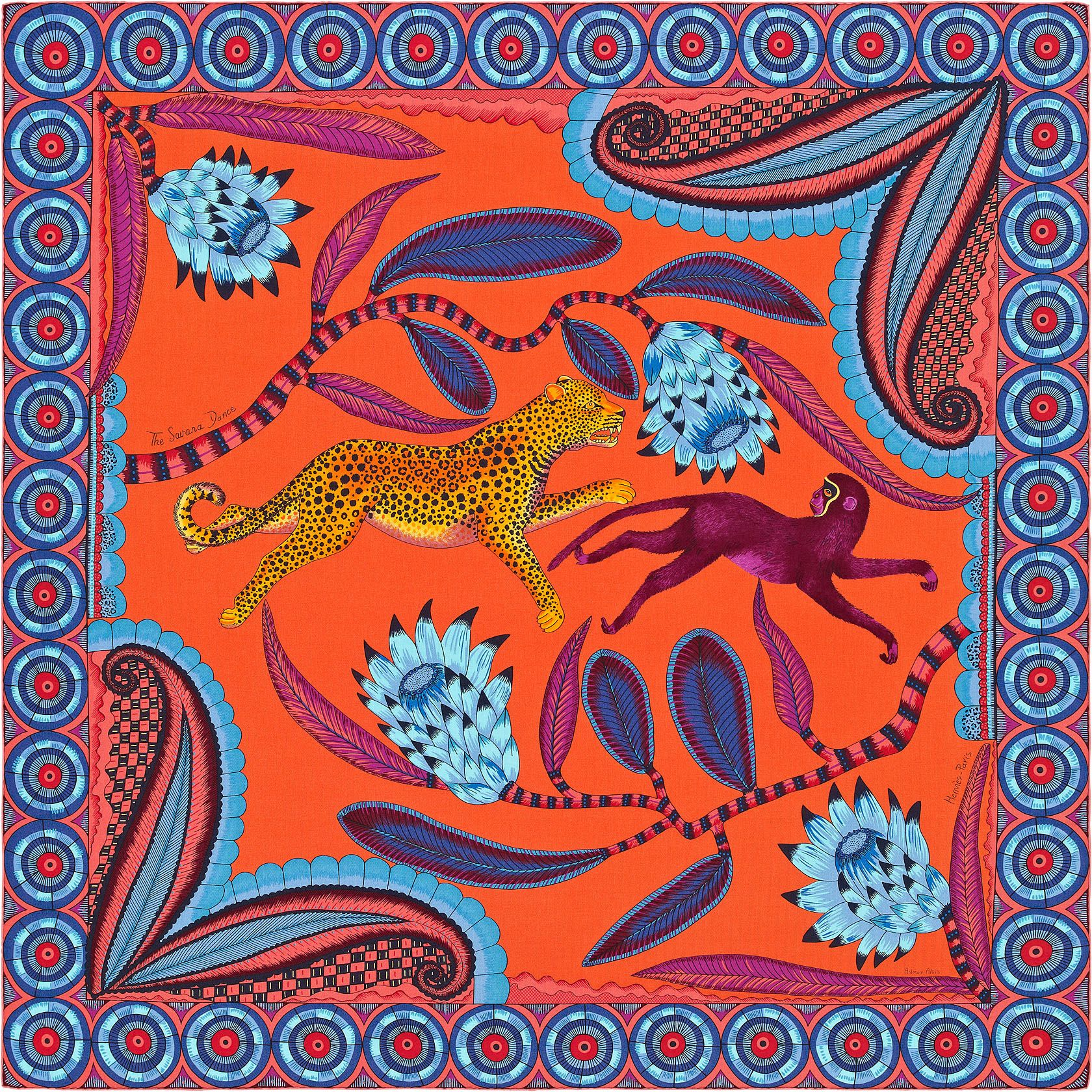 Châle 140 x 140 cm Hermès   The Savana Dance   Hermes - Hermès ... 0e646028395