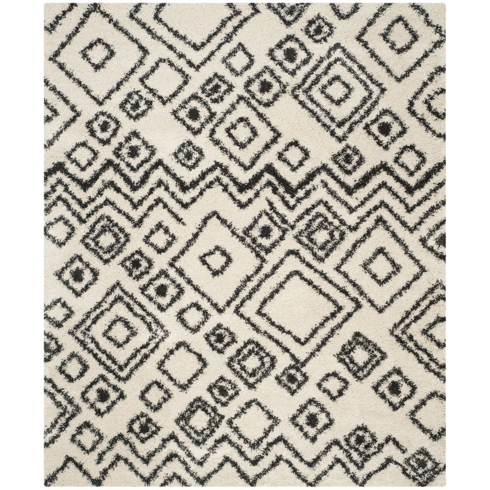 Safavieh Belize Shag Ivory/ Charcoal Rug (8' x 10') - Overstock™ Shopping - Great Deals on Safavieh 7x9 - 10x14 Rugs