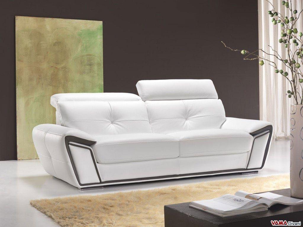 Divano Di Pelle Bianco.Divano In Pelle Bianco E Marrone Sofa Furniture Sofa Design