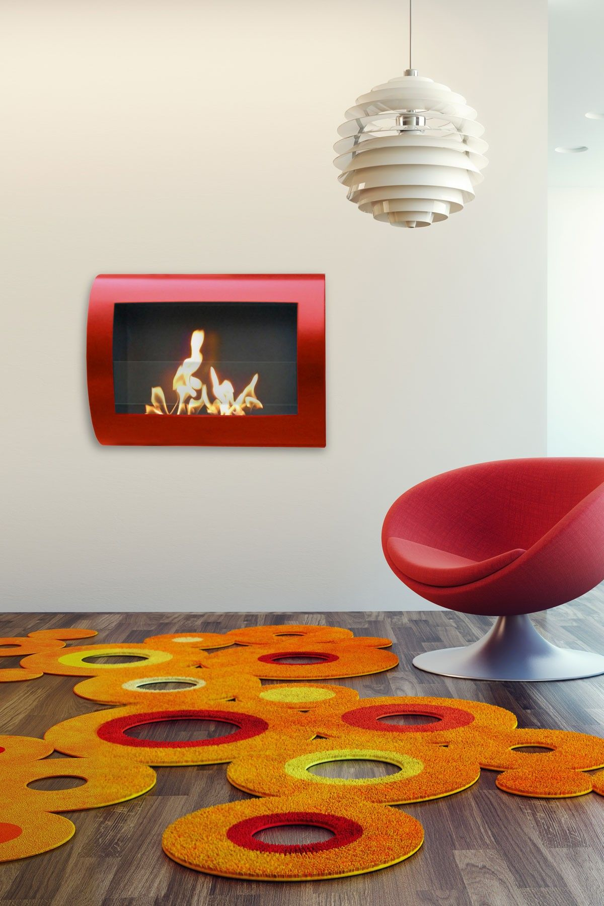 Anywhere Fireplaces | Chelsea Red High Gloss Fireplace