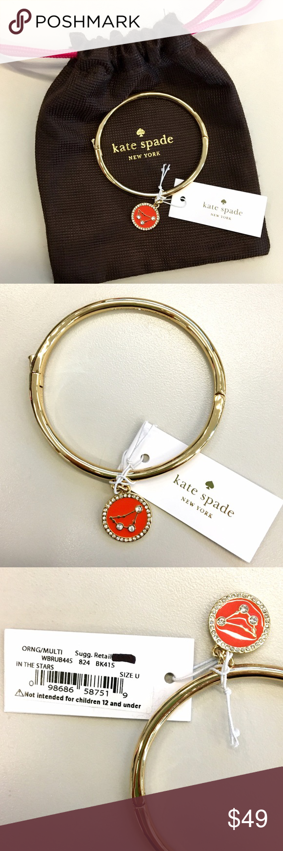 NWT Kate Spade In the stars bracelet Brand new zodiac-themed in the stars bracelet from Kate Spade. Features a gold-plated bangle with pave-and-enamel orange / red charm. So cute for the astronomical star crossed lover :) kate spade Jewelry Bracelets