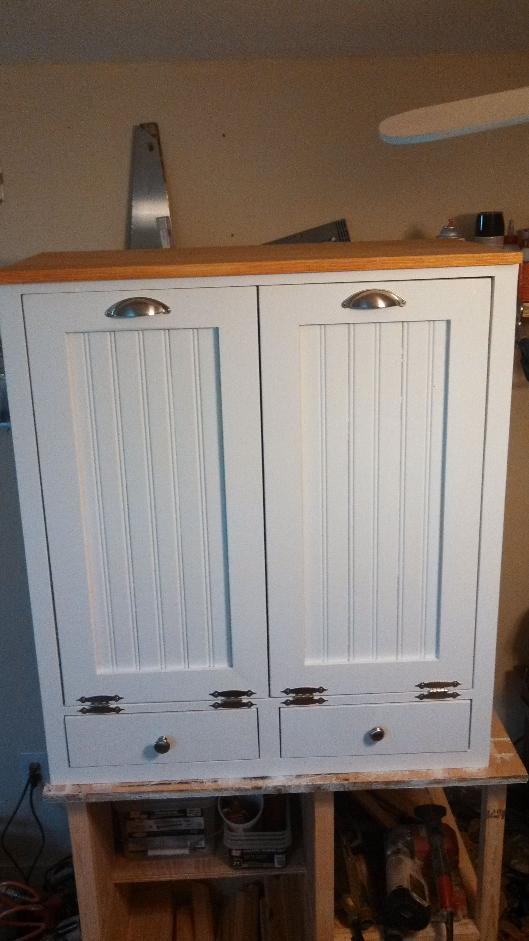 double trash can cabinet