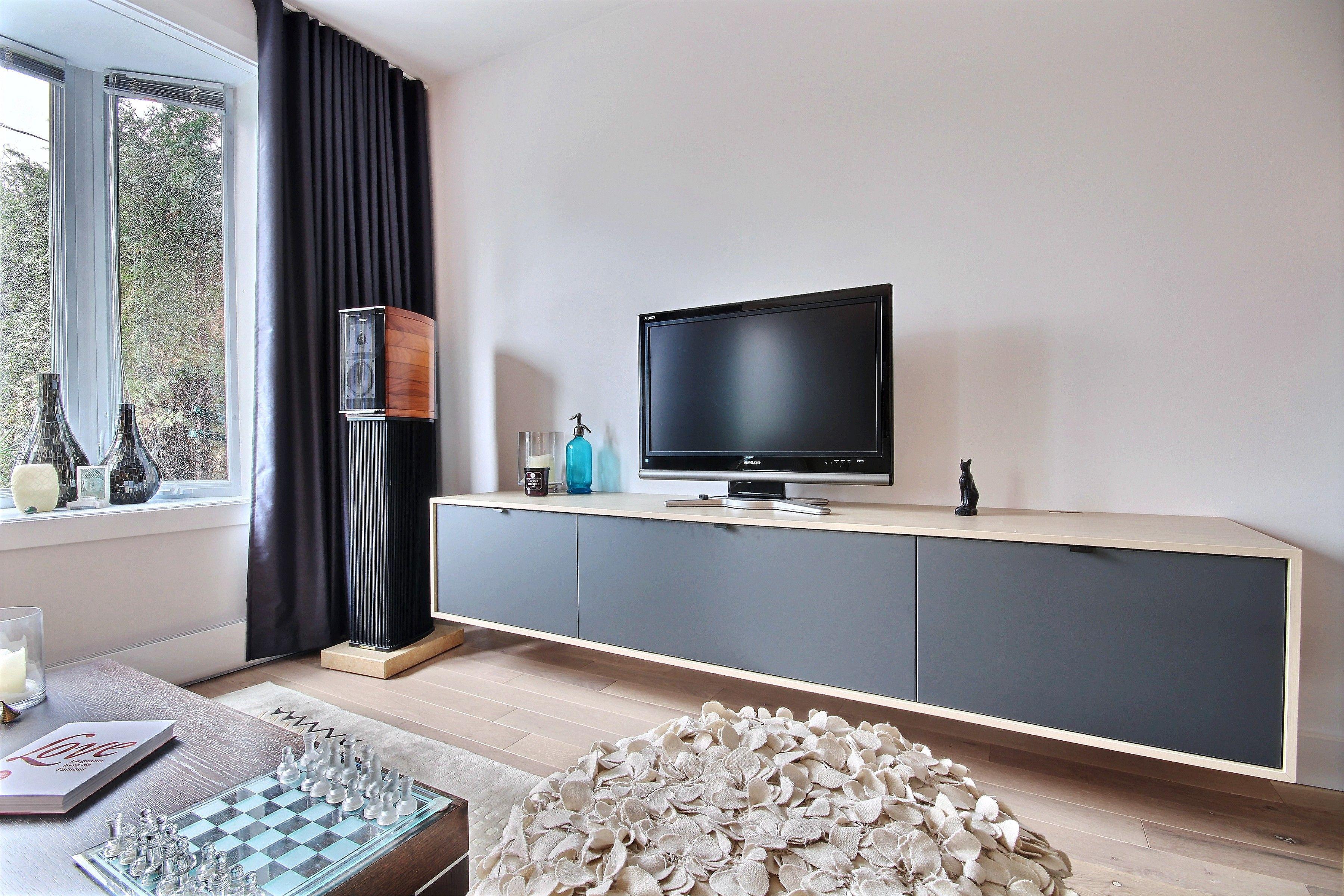 Tele Salle De Bain salon, meuble de télévision | projet : beaudoin | designer