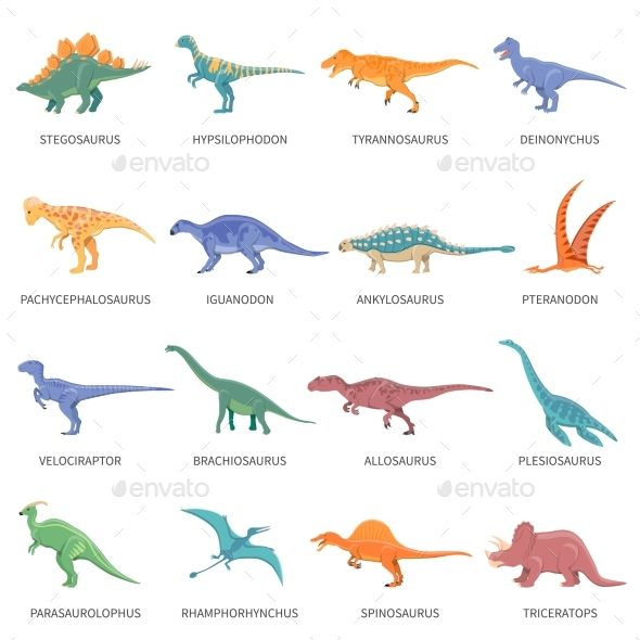 Colored Isolated Icons Set Of Different Types Of Dinosaurs In Cartoon Style With Name Of Class Or Kind F Dinosaur Illustration Dinosaur Images Dinosaur Posters