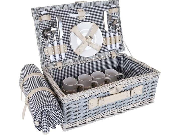 Photo of Picnic basket set HWC-B24 for 4 people, wicker basket, porcelain …