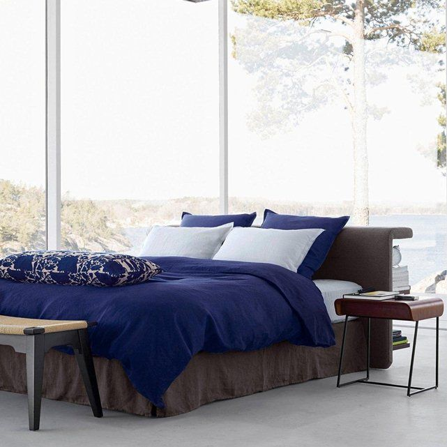 housse de couette dye en lin lav am pm le bleu. Black Bedroom Furniture Sets. Home Design Ideas