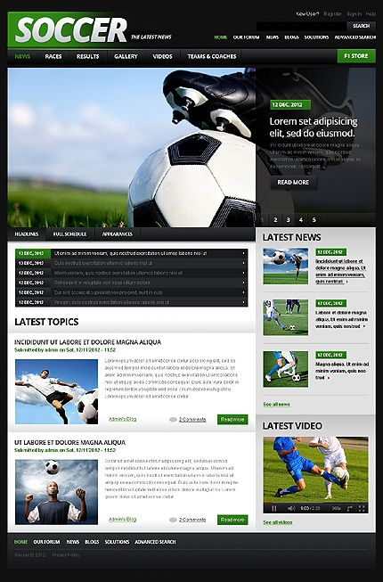 Soccer Drupal Template  Drupal Template And Sports Website