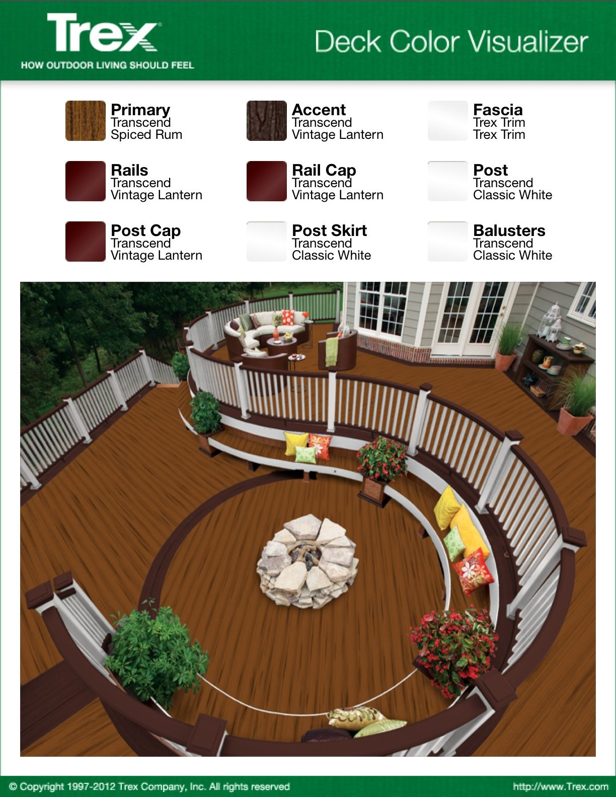 Trex deck color combination patio sunroom pinterest for Balcony colour combination