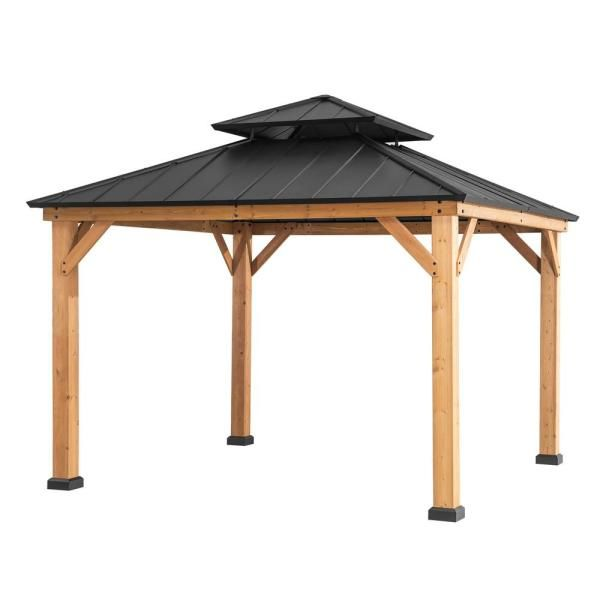 Sunjoy Archwood 10 Ft X 10 Ft Cedar Framed Gazebo With Steel Hardtop A102007300 The Home Depot In 2020 Patio Gazebo Wood Patio Gazebo