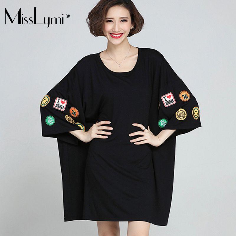 af5a20e1dec MissLymi Plus Size Women T shirts Dresses 2017 New Summer Casual Loose O- neck Short Sleeve Smiling Face Letter Black Dress 6XL