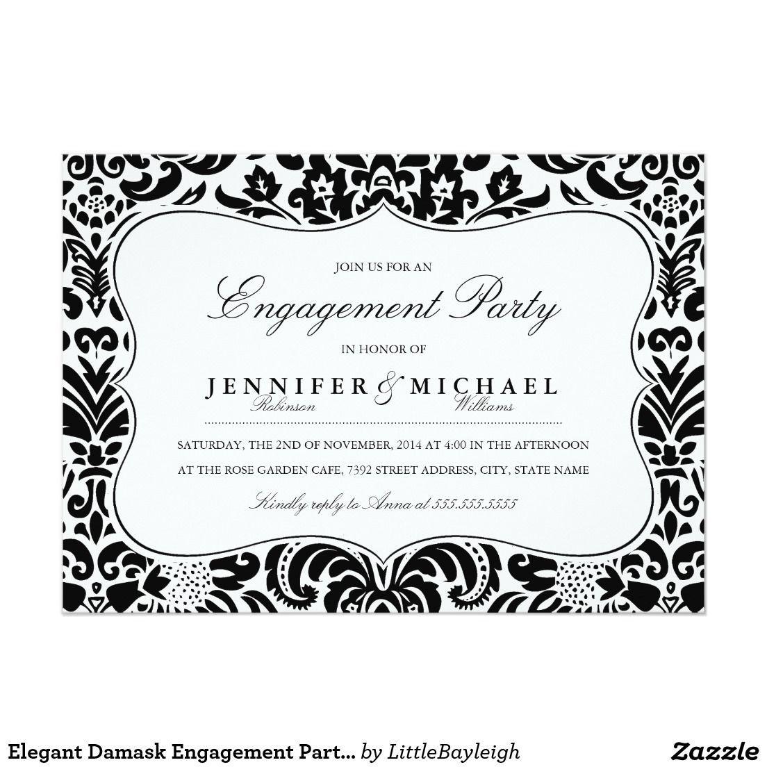 Elegant Damask Engagement Party Invitation | Engagement party ...