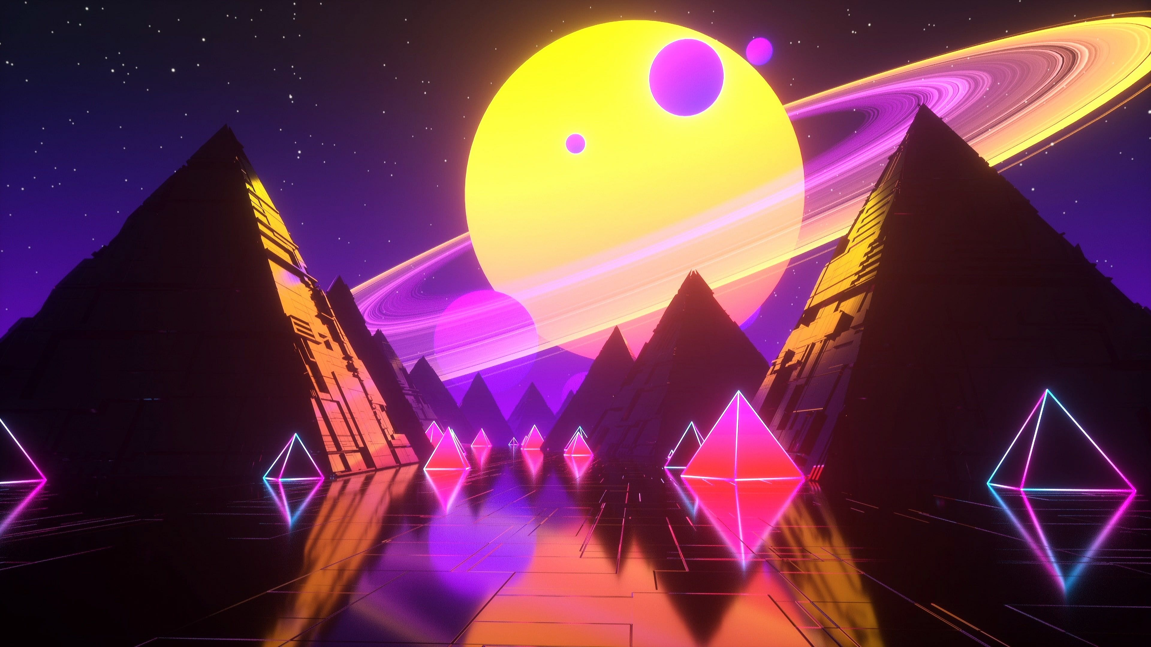 Music Stars Planet Space Pyramid Pyramid Background Neon Synth Retrowave Synthwave New Retro Wav Neon Wallpaper Wallpaper Cute Wallpaper Backgrounds