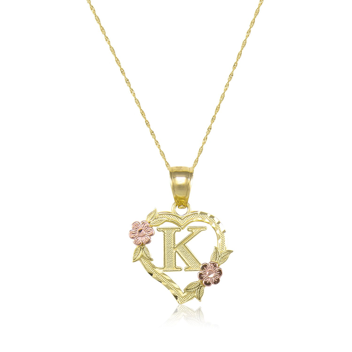 10k Solid Yellow Rose Gold Heart Initial Letter Pendant Singapore Chain Necklace Set A Z Any Alphabet Flower Charm