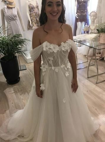 Photo of 3D Flowers Beach Tulle Off the Shoulder Wedding Dress