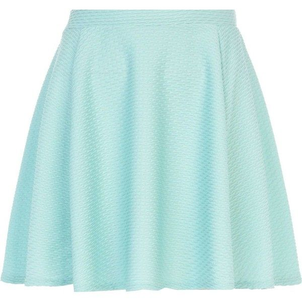 River Island Green textured skater skirt ($22) ❤ liked on Polyvore featuring skirts, bottoms, saias, faldas, blue skirt, skater skirts, blue circle skirt, green skater skirt and blue green skirt