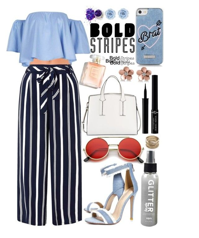 """""""Strong Stripes: Graphic Striped Pants"""" by fangirl-preferences ❤ liked on Polyvore featuring Chantelle, Monsoon, Boohoo, French Connection, Giorgio Armani, Sole Society, Allurez, Skinnydip and stripedpants"""