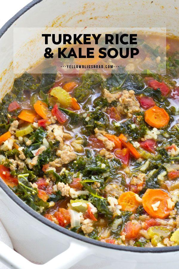 Ground Turkey Rice Soup with Kale | YellowBlissRoad.com