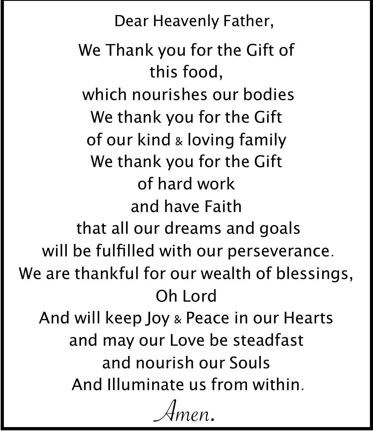 Grace Before Meals Food Prayer My Board Prayers