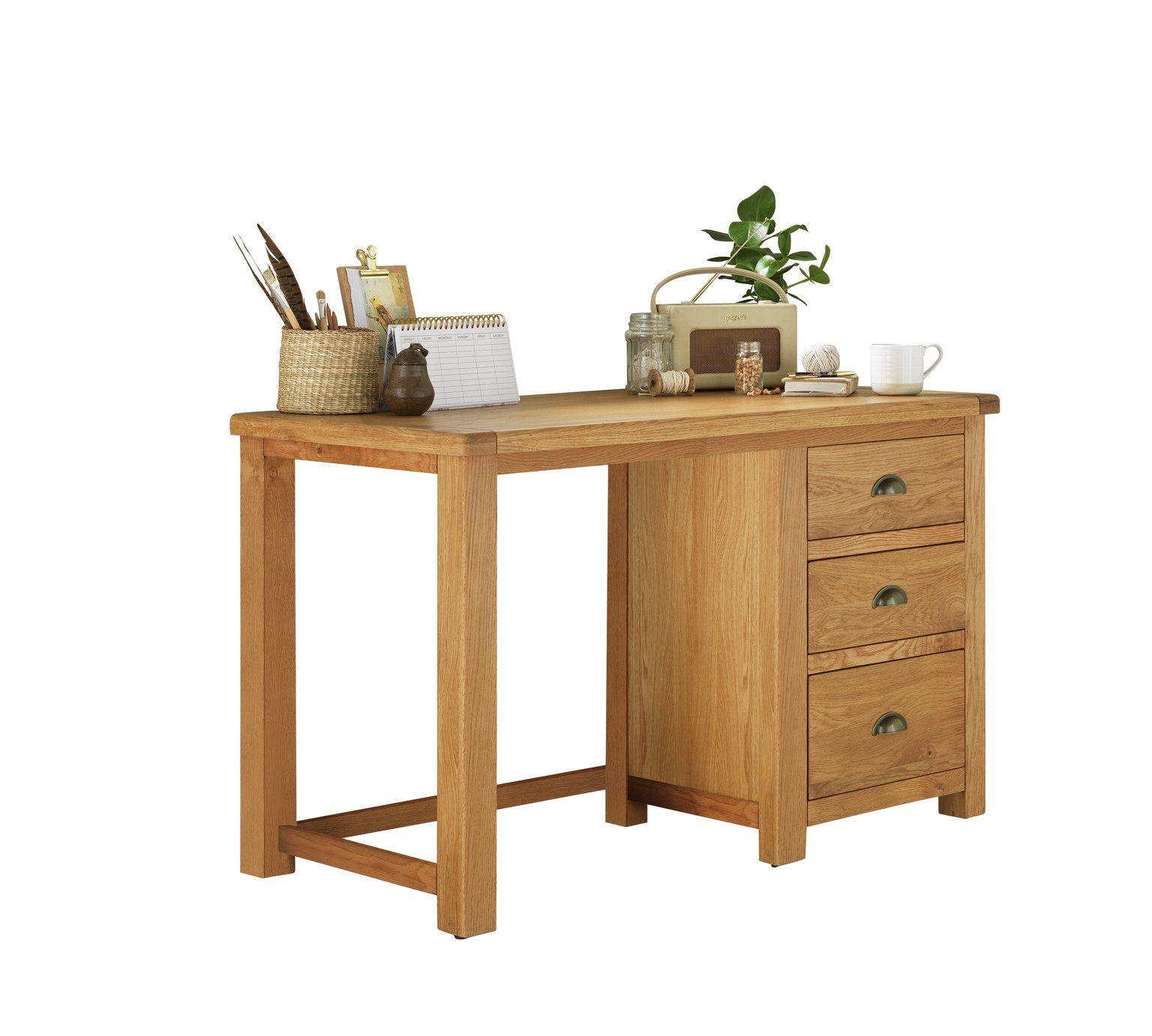 Buy Argos Home Kent 3 Drawer Office Desk Oak Oak Veneer Desks Argos Oak Office Desks Oak Veneer Desk Office Desk