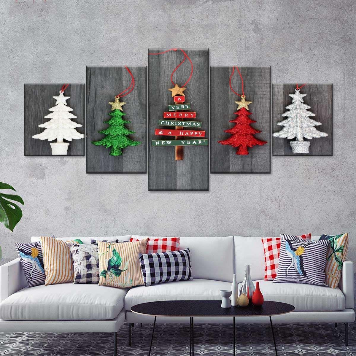 Christmas Trees Multi Panel Canvas Wall Art Christmas Wall Art Canvas Christmas Wall Art Diy Christmas Wall