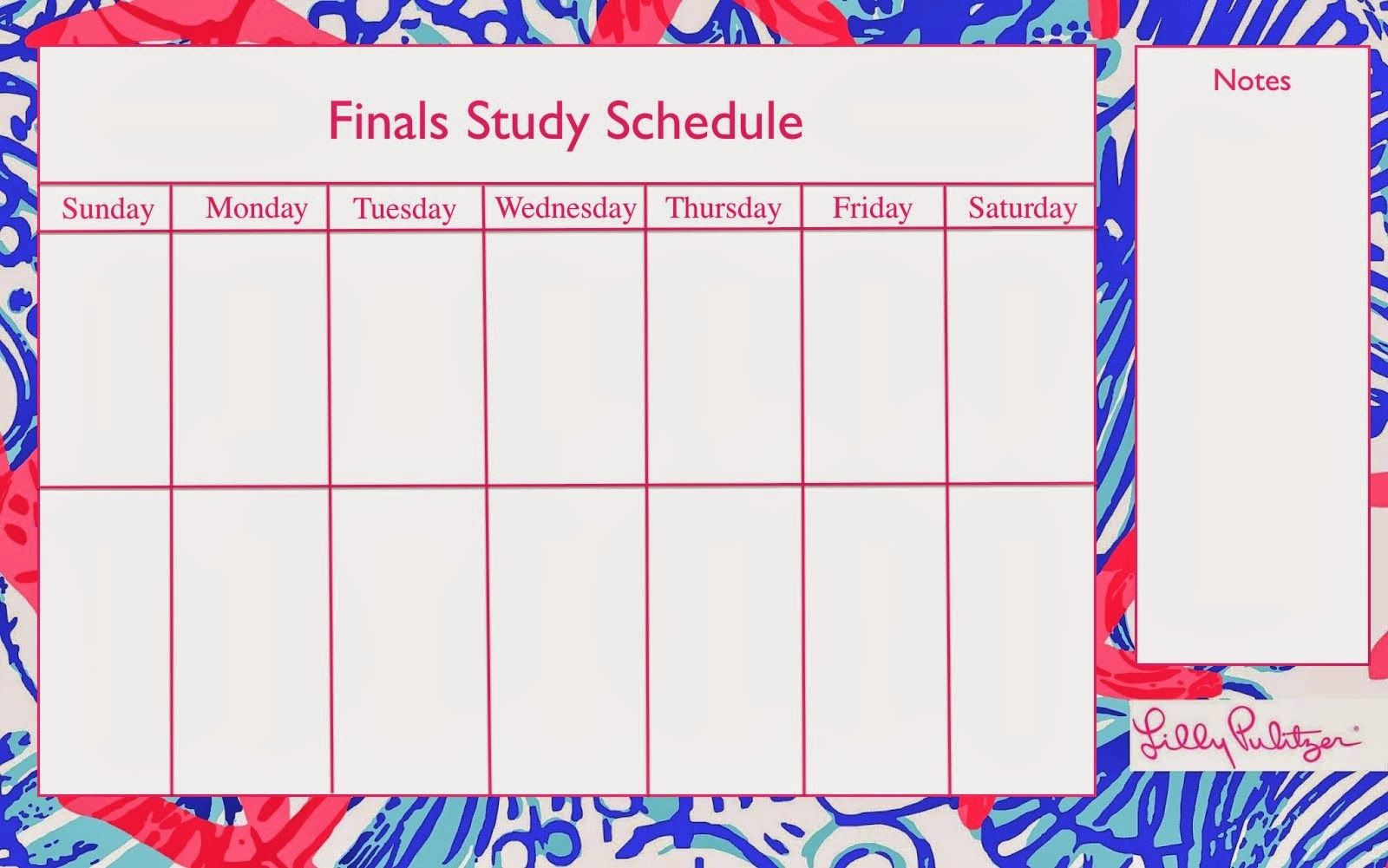 Finals Study Schedule Template Anchors And Pearls Hotty Toddy